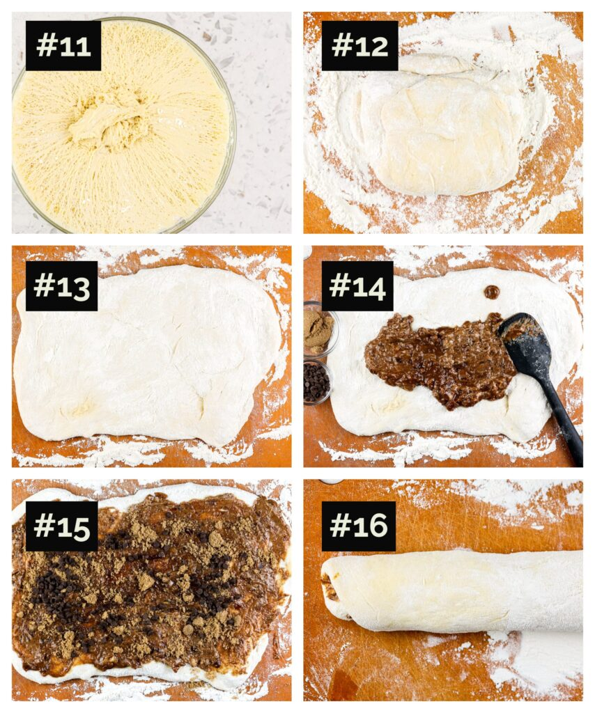 Six image collage showing how to roll out dough to make rectangle for cinnamon rolls,  then spread dark date paste on top and roll into a cylinder to slice.