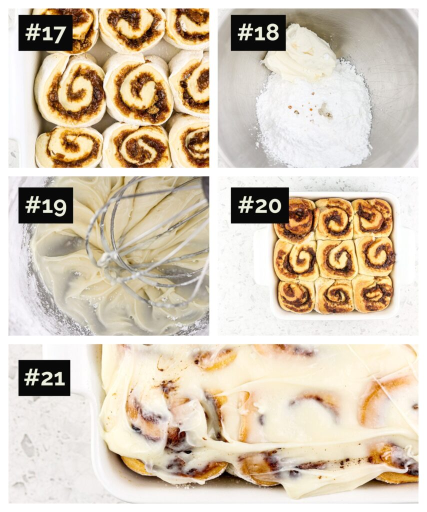 Final 5 steps in a collage format showing how to slice cinnamon roll dough, make cream cheese white frosting in a grey stand mixer, and frost baked rolls.