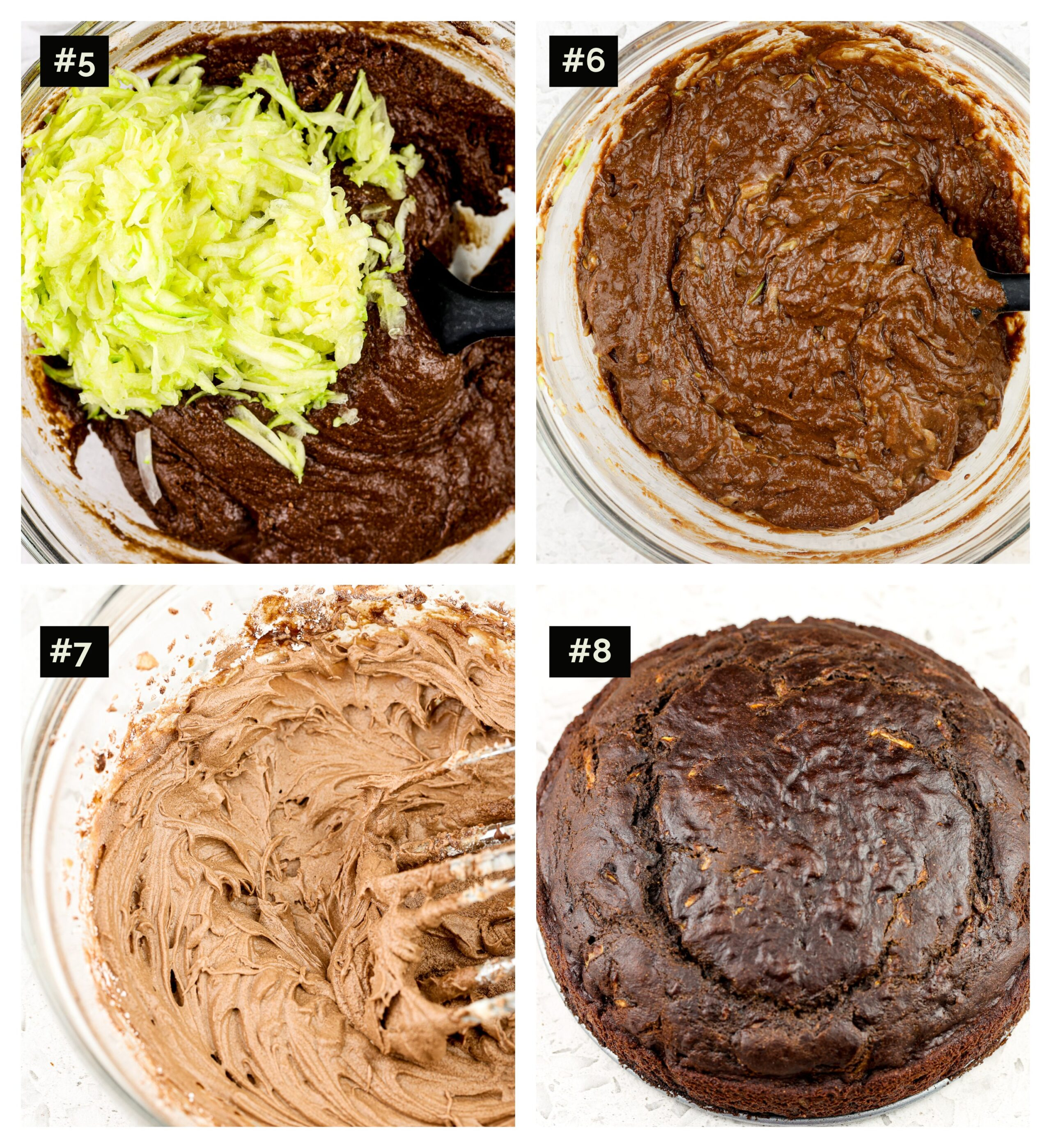 Four picture collage of making cake, with zucchini being stirred into chocolate cake batter, then glass bowl with two beaters with whipped chocolate topping, then final baked cake.