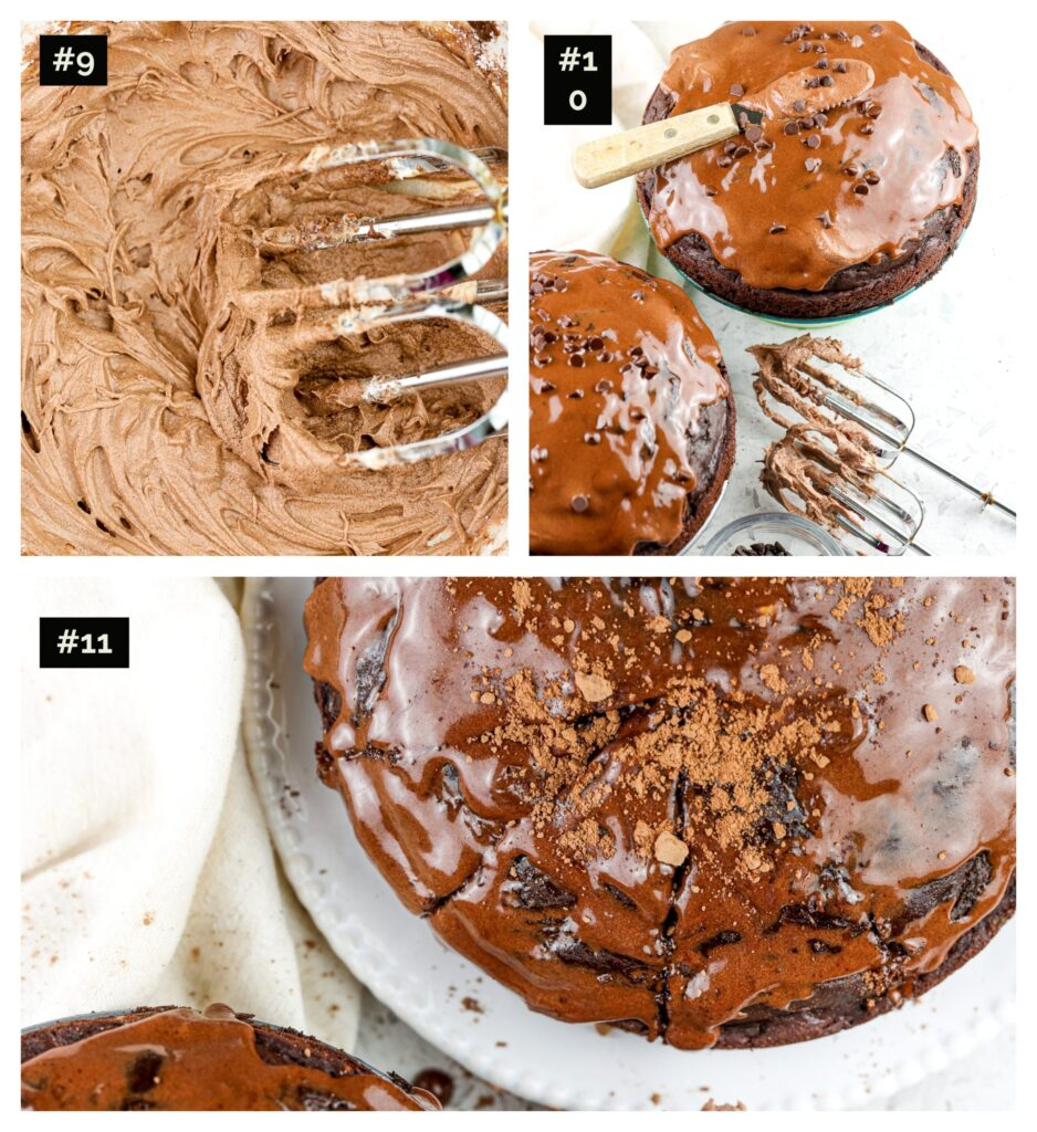 Three picture collage showing how to frost chocolate cake with beaters covered in chocolate frosting then a knife on top of the chocolate cake.