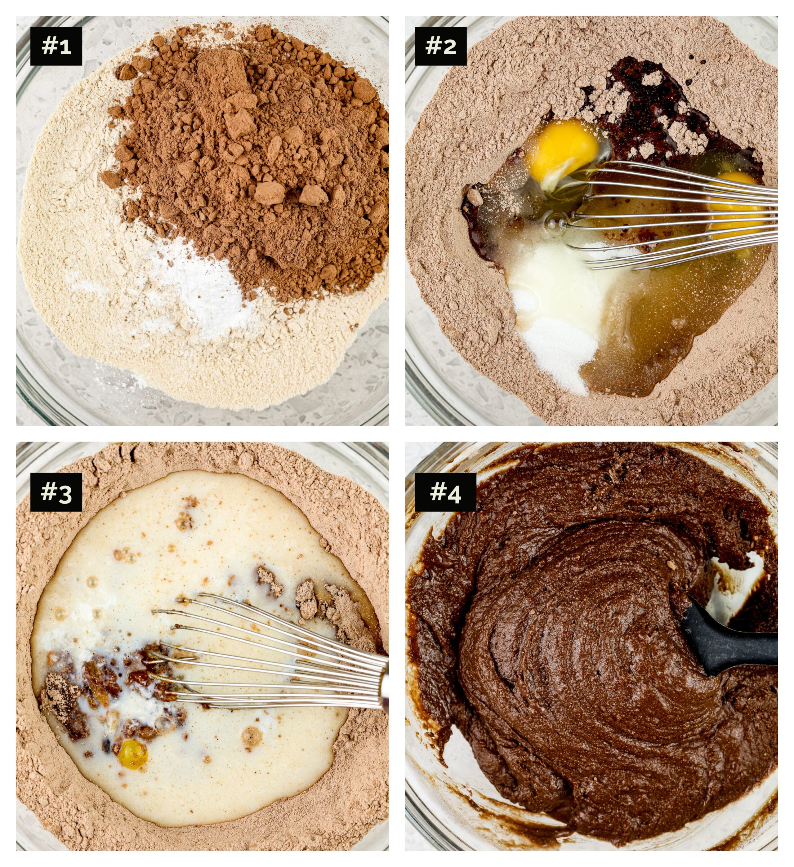 Four picture collage with steps to make chocolate cake, including glass bowl with cocoa powder and flours, then egg being whisked in, then adding the milk, then the thick chocolate cake batter.