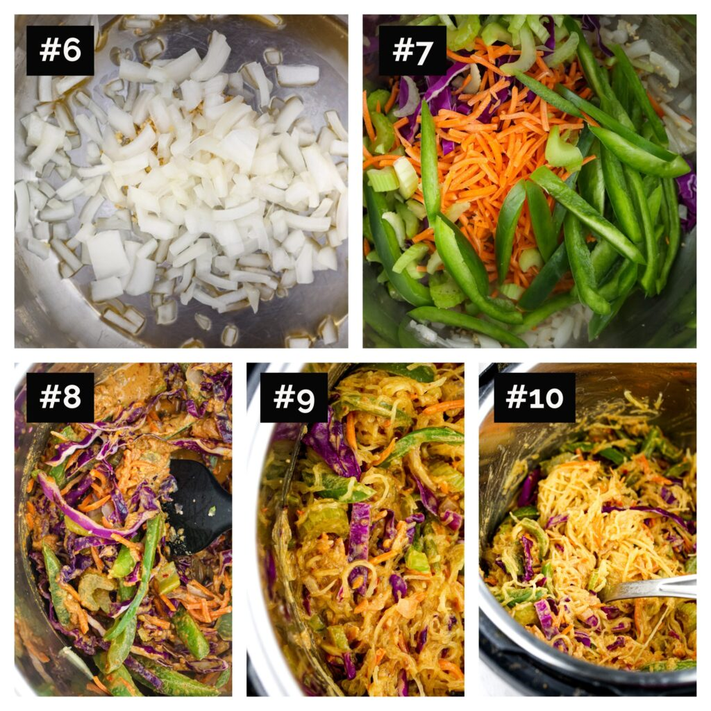 Five image picture collage of steps to make pad thai in the instant pot, with close up shots of sauting veggies and adding peanut sauce and squash to the instant pot.