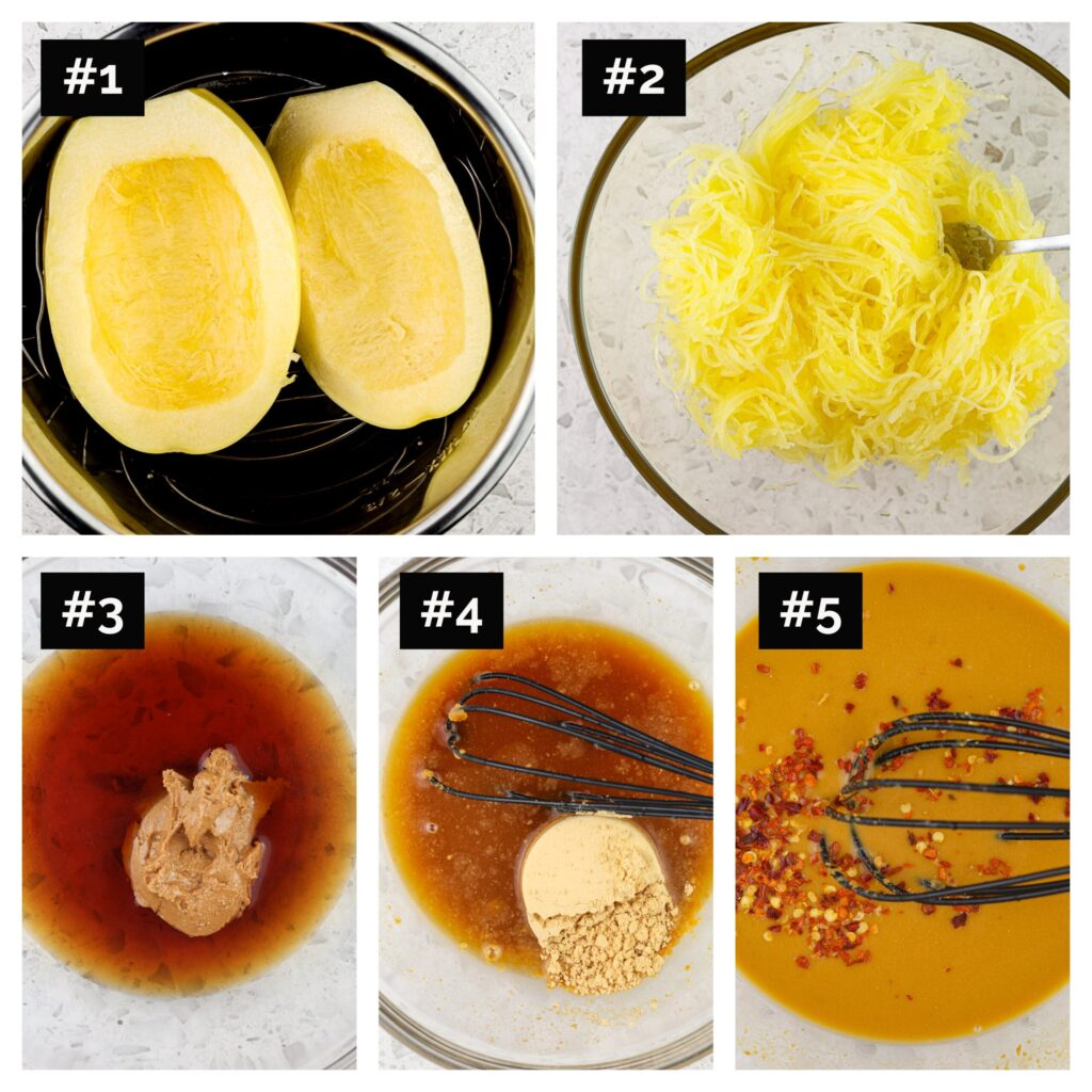 Five image collage with steps to make spaghetti squash and peanut sauce.