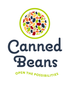 White logo for canned beans with cursive writing and green outlining with multicolored beans.