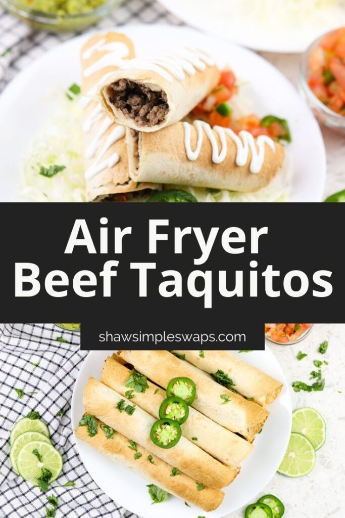 Pinterest image for beef taquitos.
