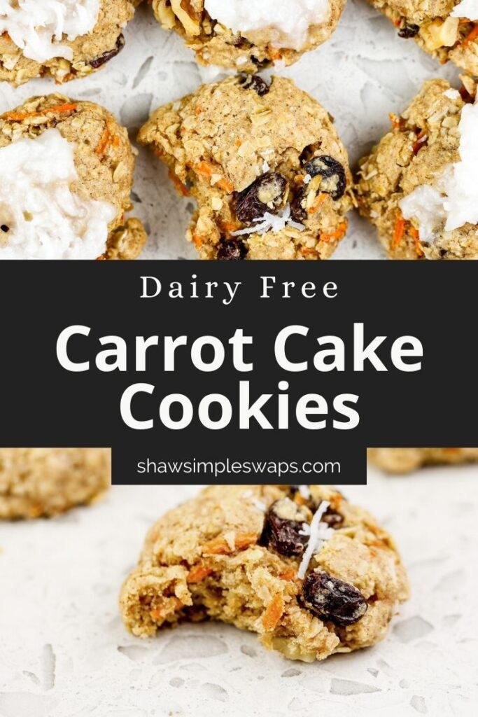 """Pinable image with black overlay reading """"Carrot Cake Cookies"""" with image of carrot cake cookies on top and bottom."""