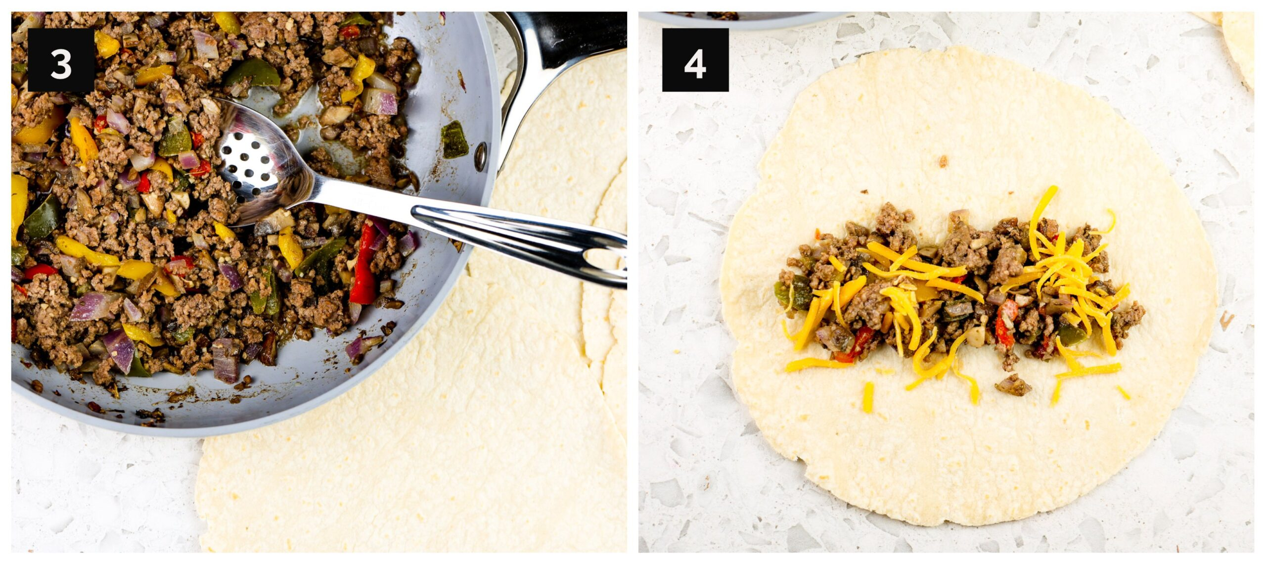 Two picture collage with ground beef in saute pan and assembly of taquito.