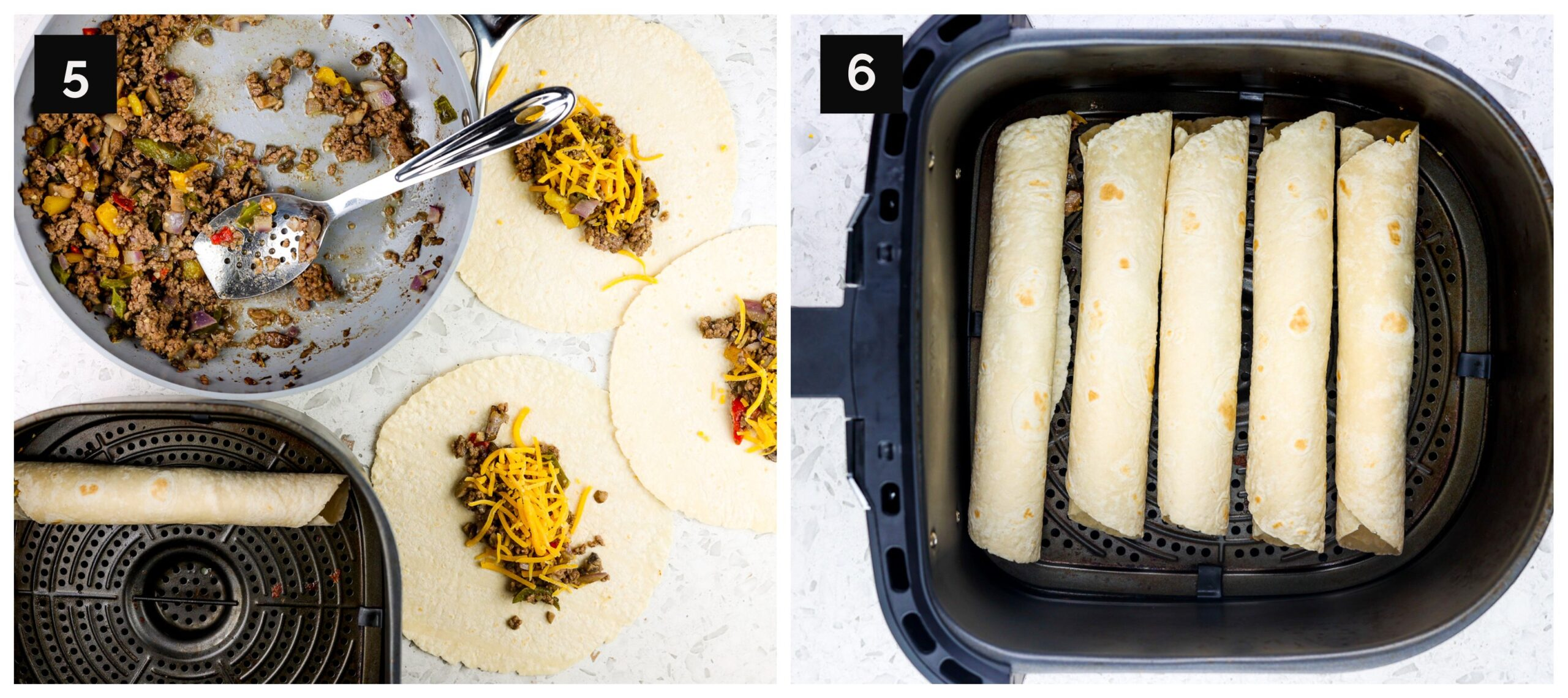 Two picture collage with air fryer taquitos being wrapped.