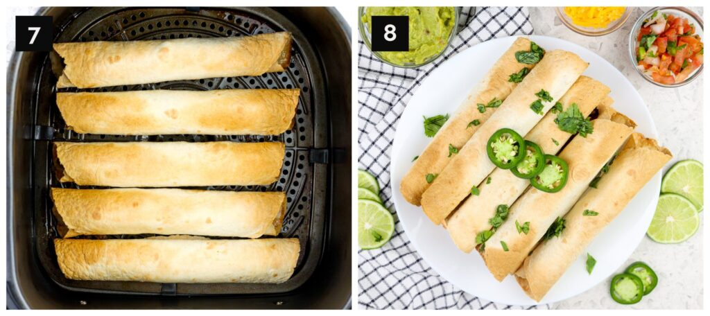 Two picture collage with air fryer taquitos being made and final product on plate.