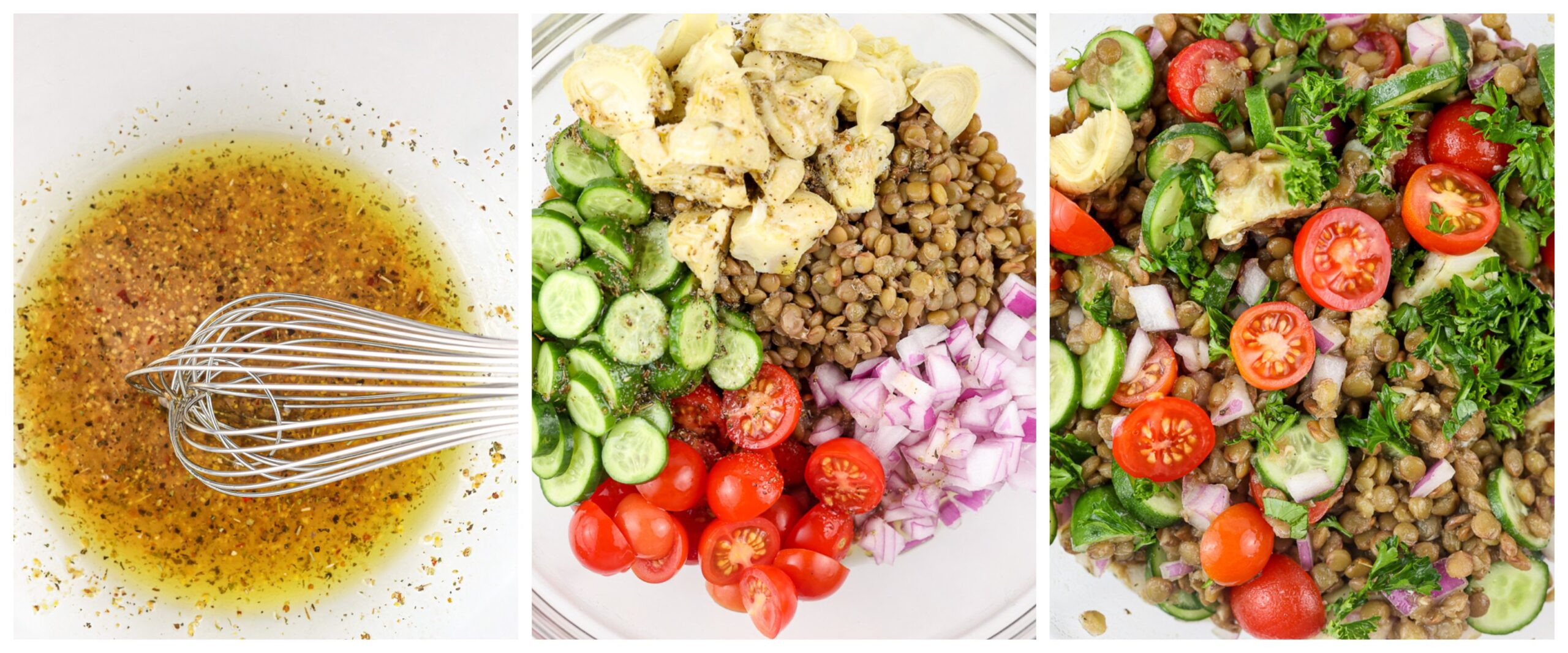 Process steps to make a lentil salad.