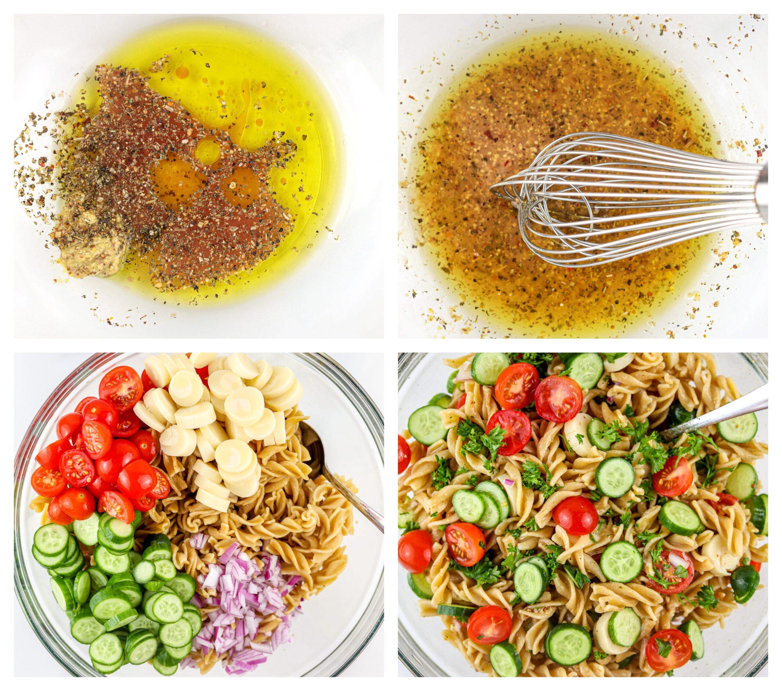 Process shots to make pasta salad.