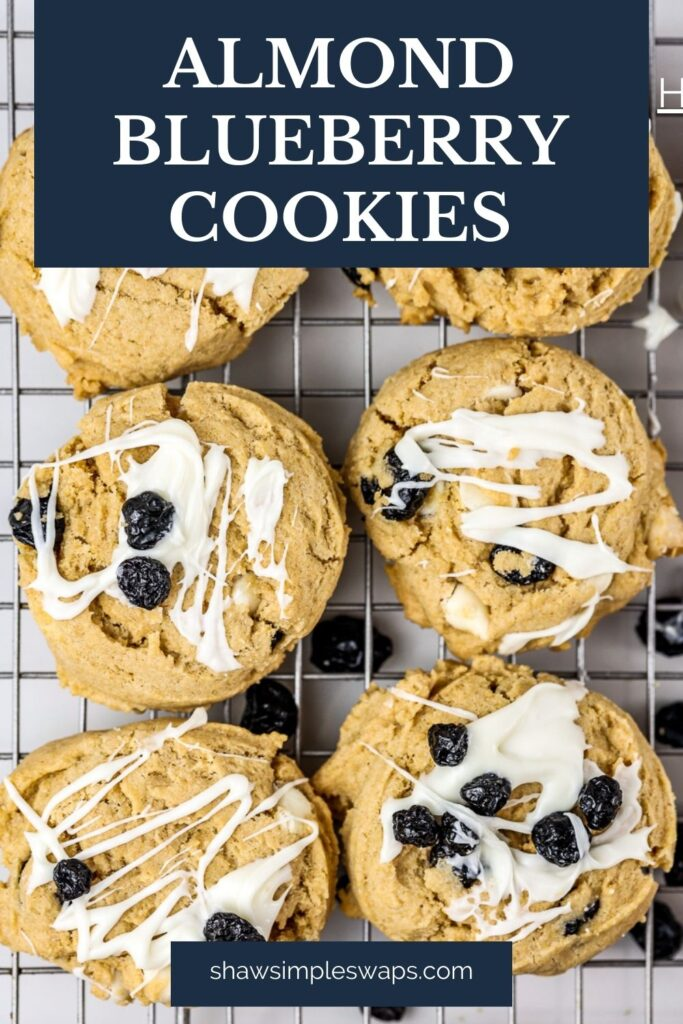 Pinable image with blueberry almond cookies image.
