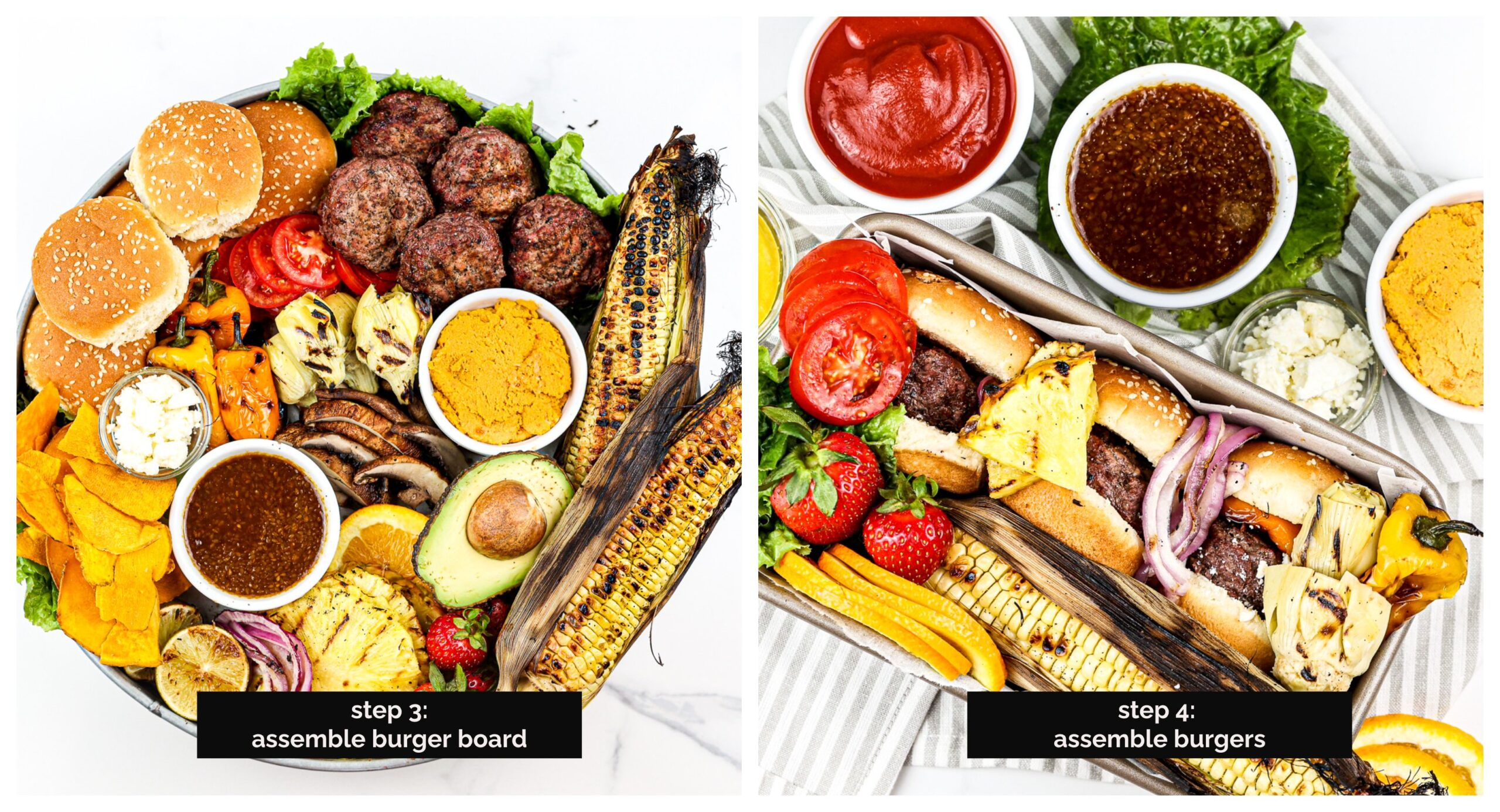 Two picture collage of the beef burger board then burgers made in a small container.