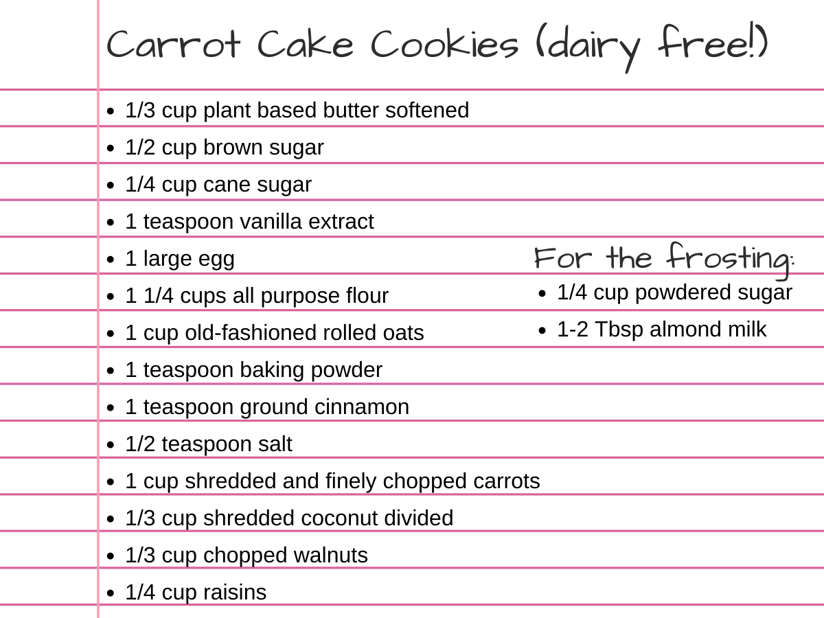 Image of lined paper with ingredients listed for cookies.