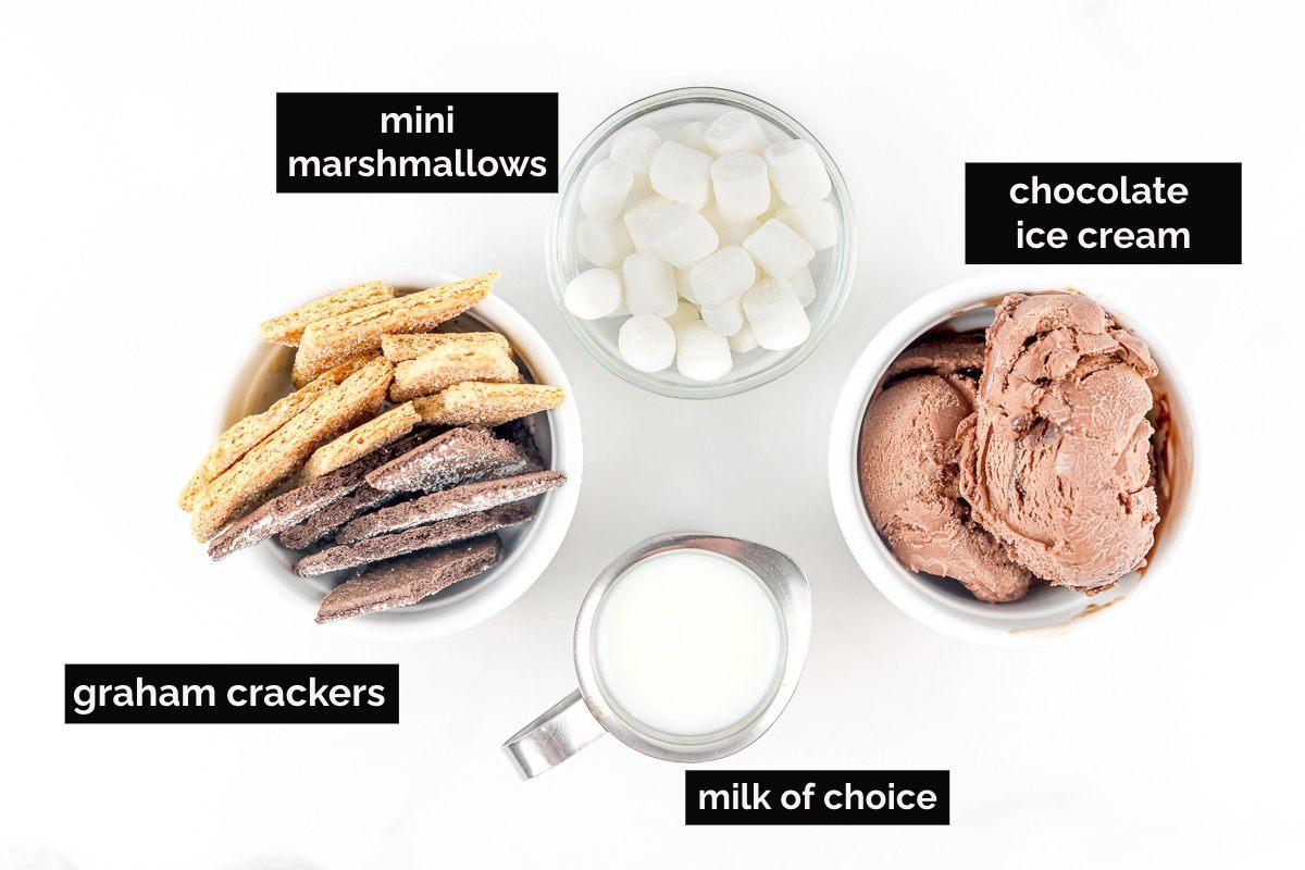 Ingredients to make milkshakes with graham crackers.