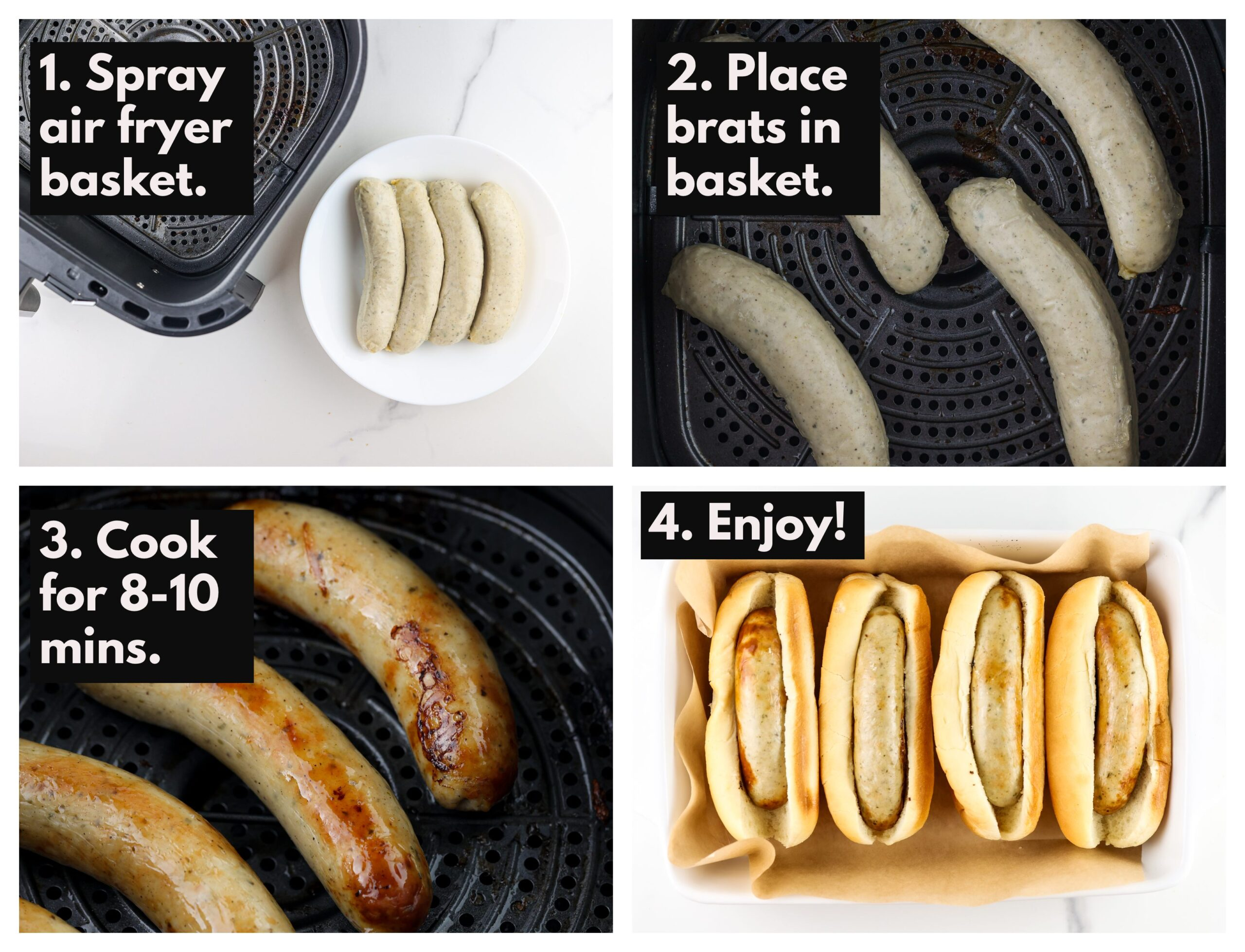 Step-by-step directions for making the sausages.
