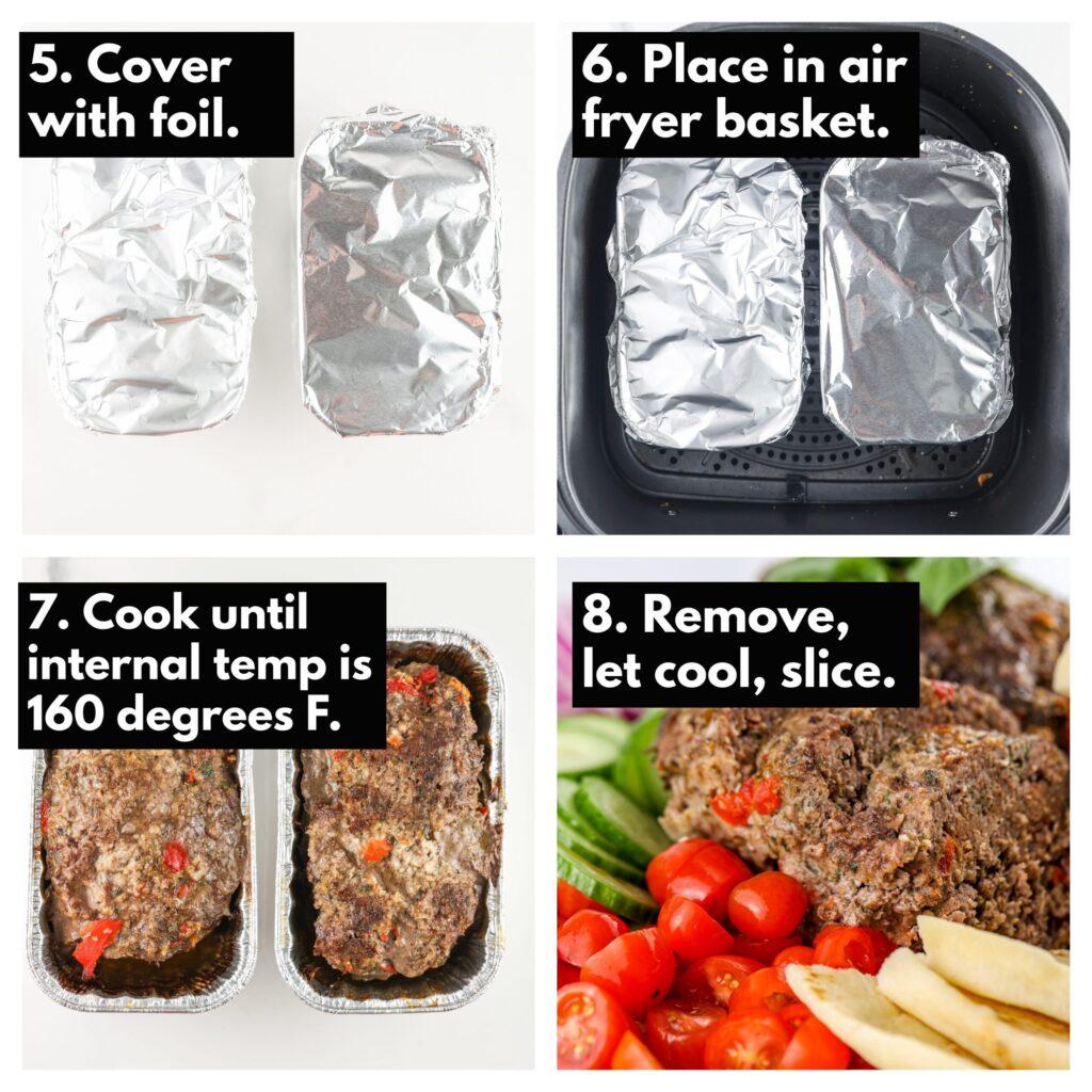Process shots to make meatloaf in air fryer basket.