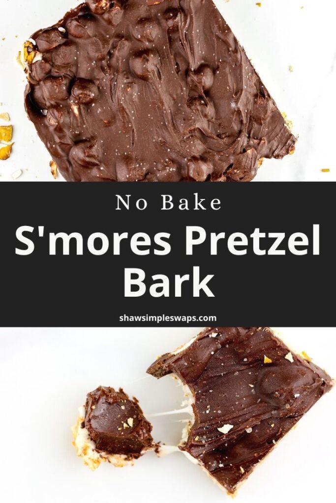 Pinable image of pretzel bark.