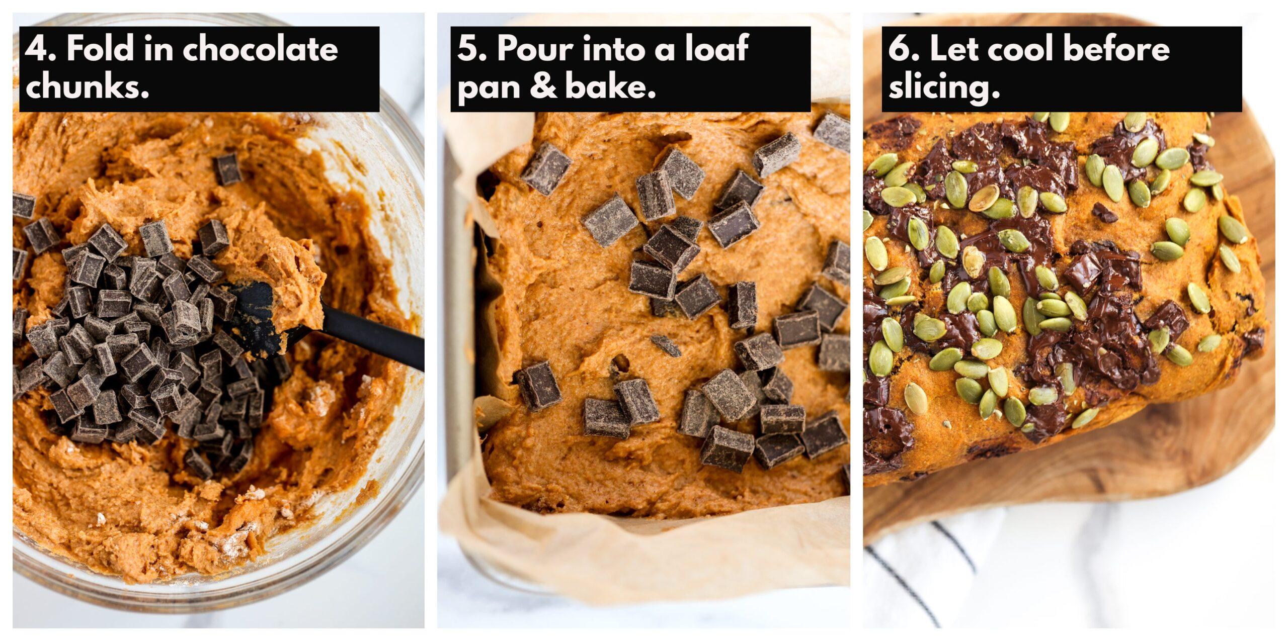 Process shots to make pumpkin bread.