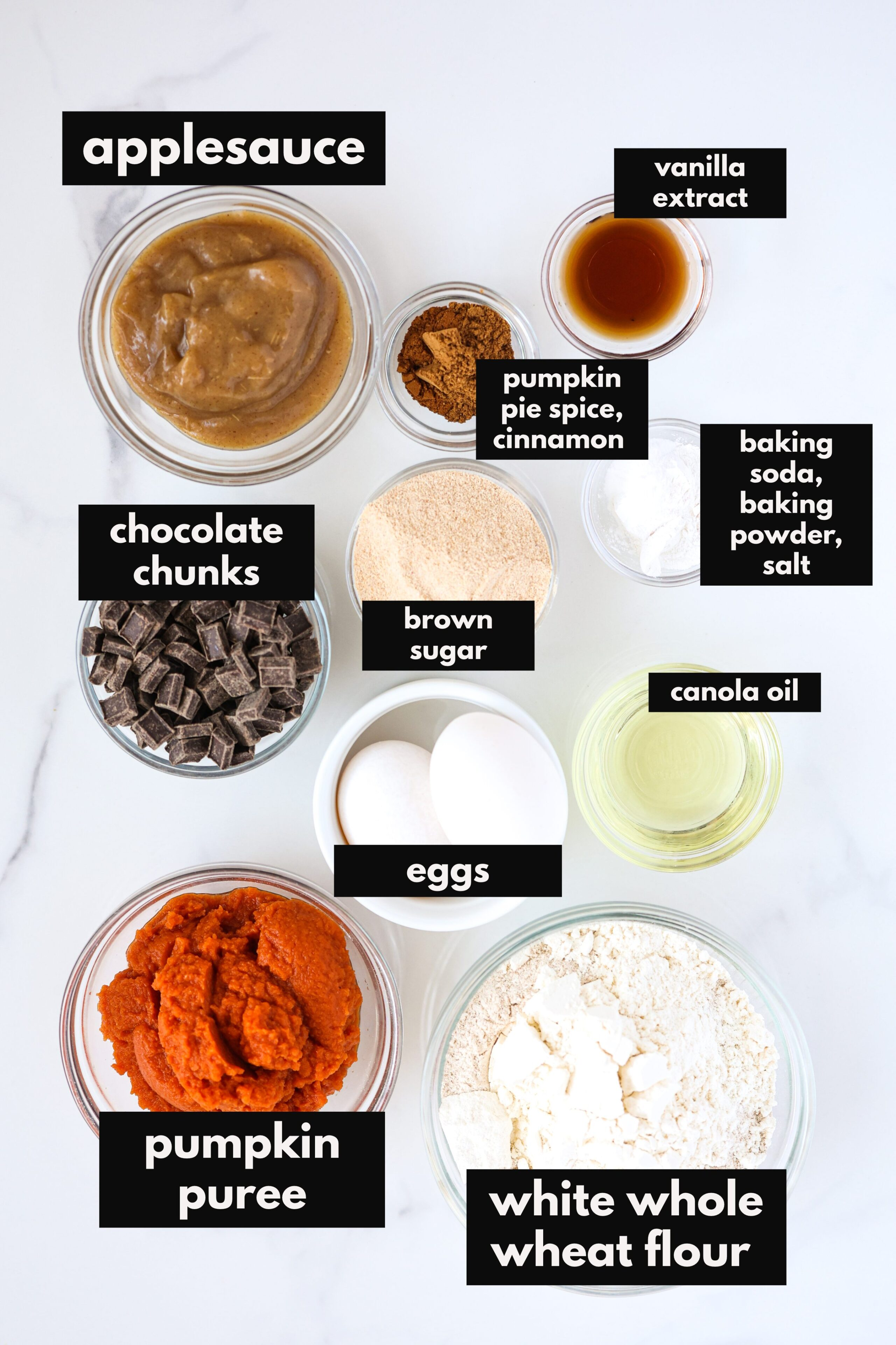 Ingredients to make pumpkin bread laid out.