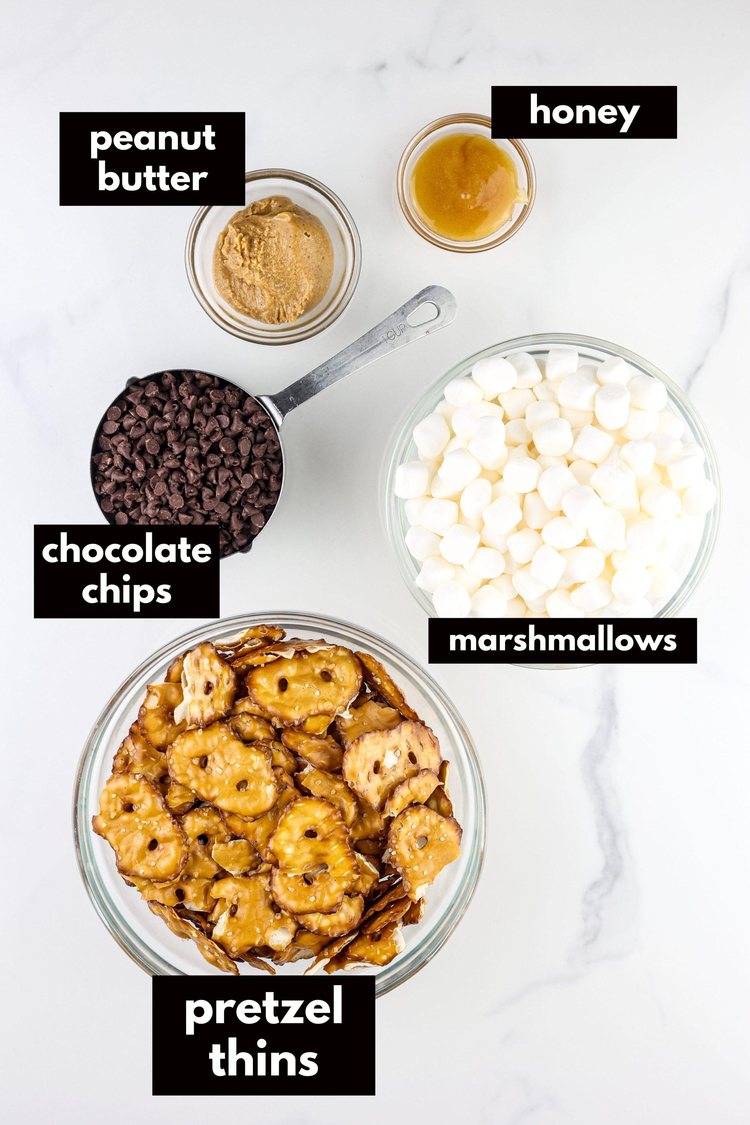 Ingredients to make pretzel bark.