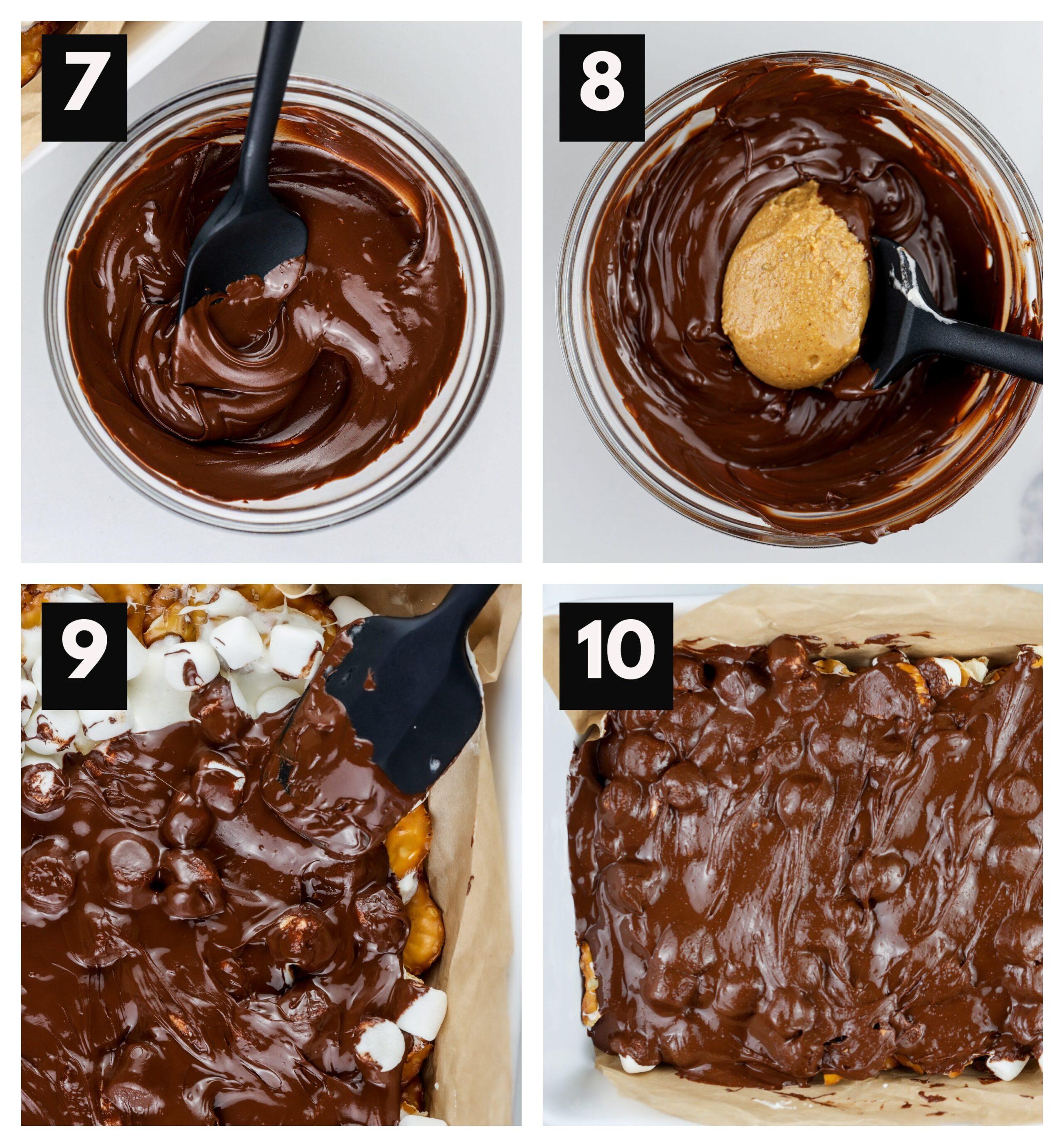 Process shots to melt chocolate and add to pretzel bark.