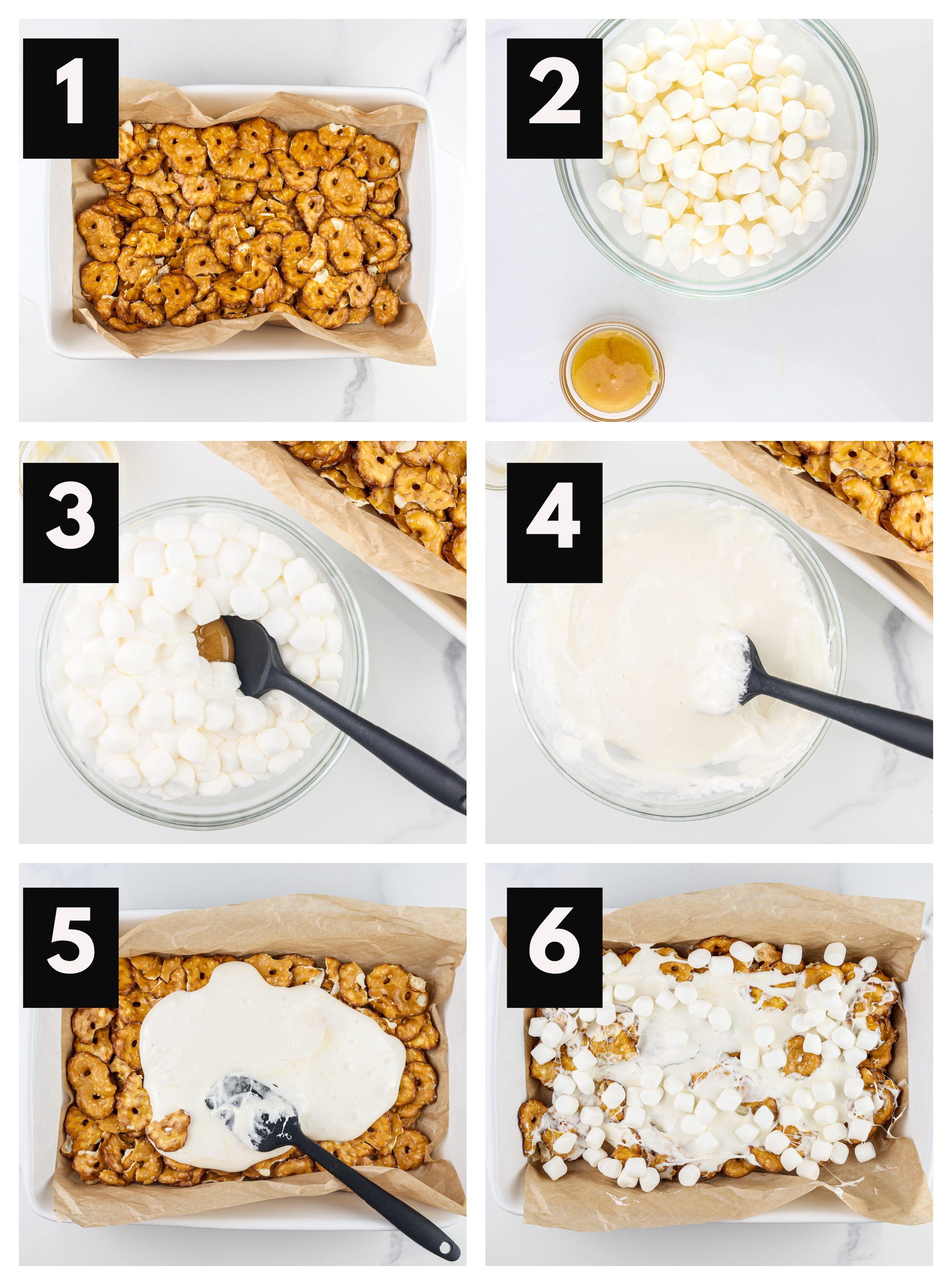 Process shots to melt marshmallows and slather on bark.