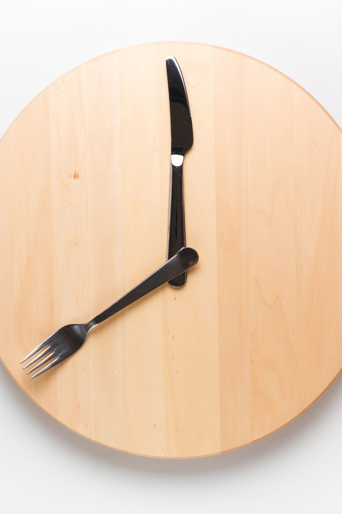 Image of clock with fork and spoon for a blog discussing intermittent fasting.